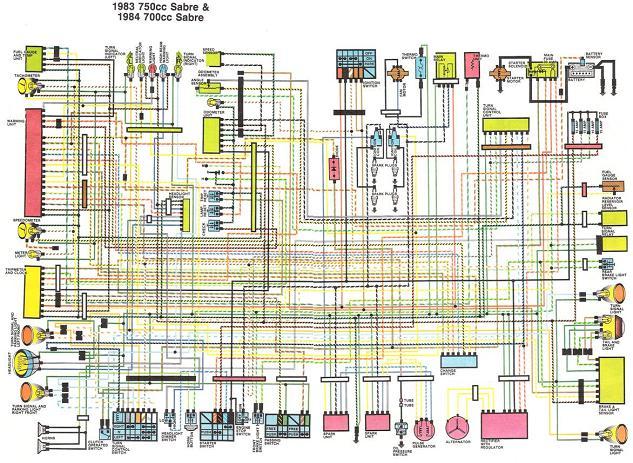 1983-84 700/750cc Sabre Wiring Diagram - V4MuscleBike.com